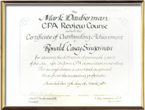 Ronald C. Singerman, Certificate of Outstanding Achievement for passing the entire Certified Public Accountant examination in one sitting